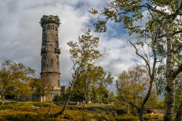 Decinsky Sneznik, Czech Republic - stone lookout tower stock photo
