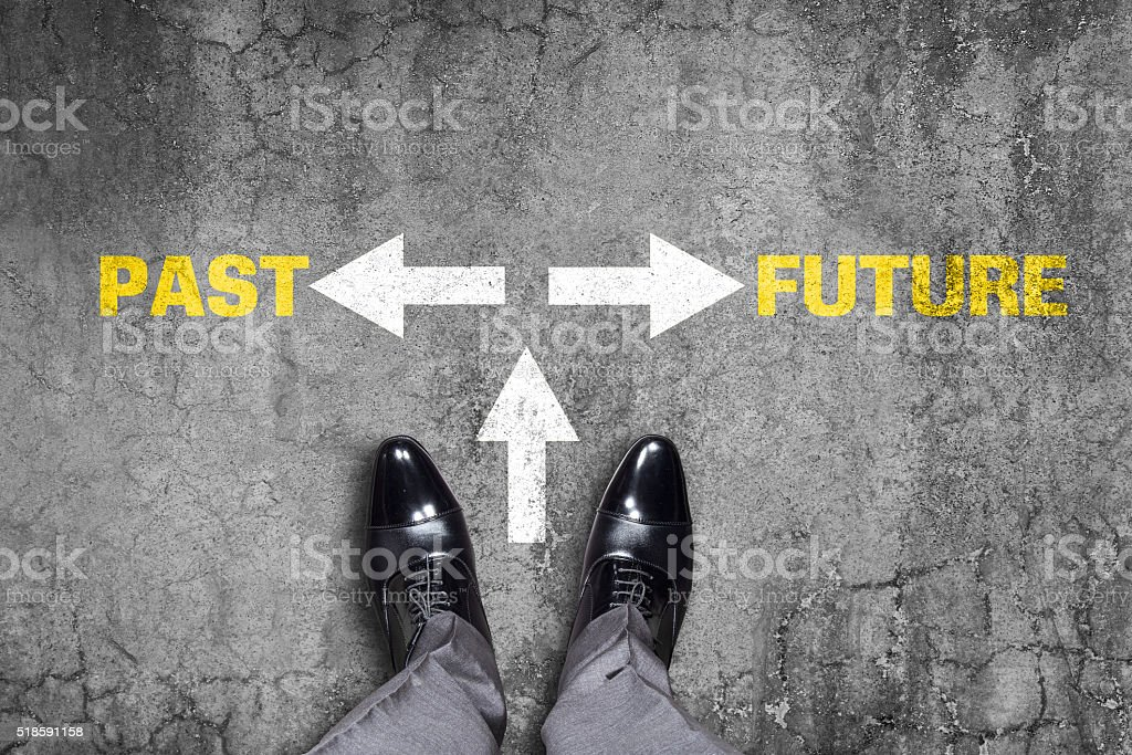 Decision at a wall - Past or Future stock photo