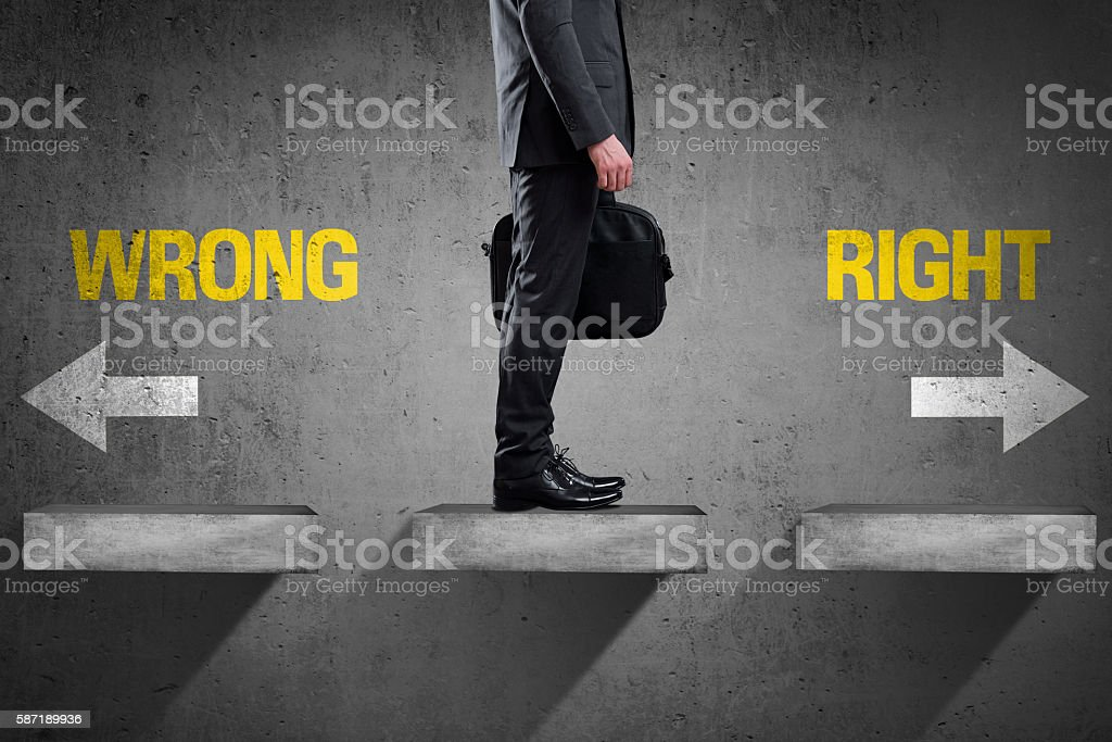 Decision at a wall - Wrong or Right stock photo