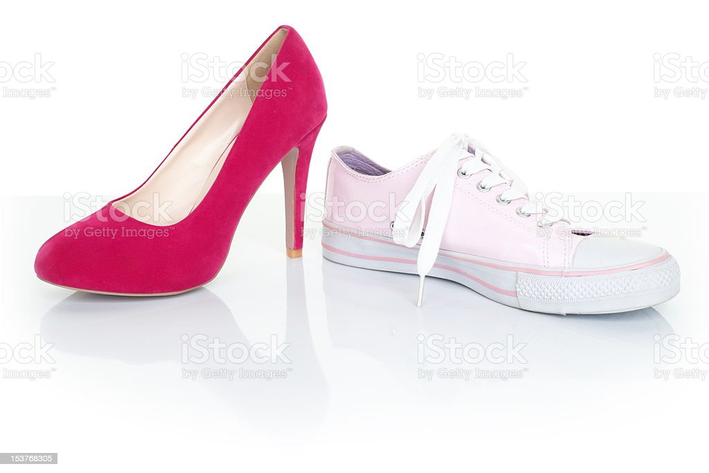 Decision / choice concept - women shoes on white royalty-free stock photo