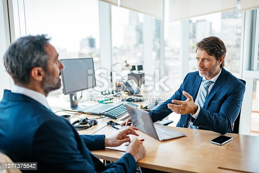 istock Decision makers having business meeting - investors talking about investments after coronavirus crisis 1277375542