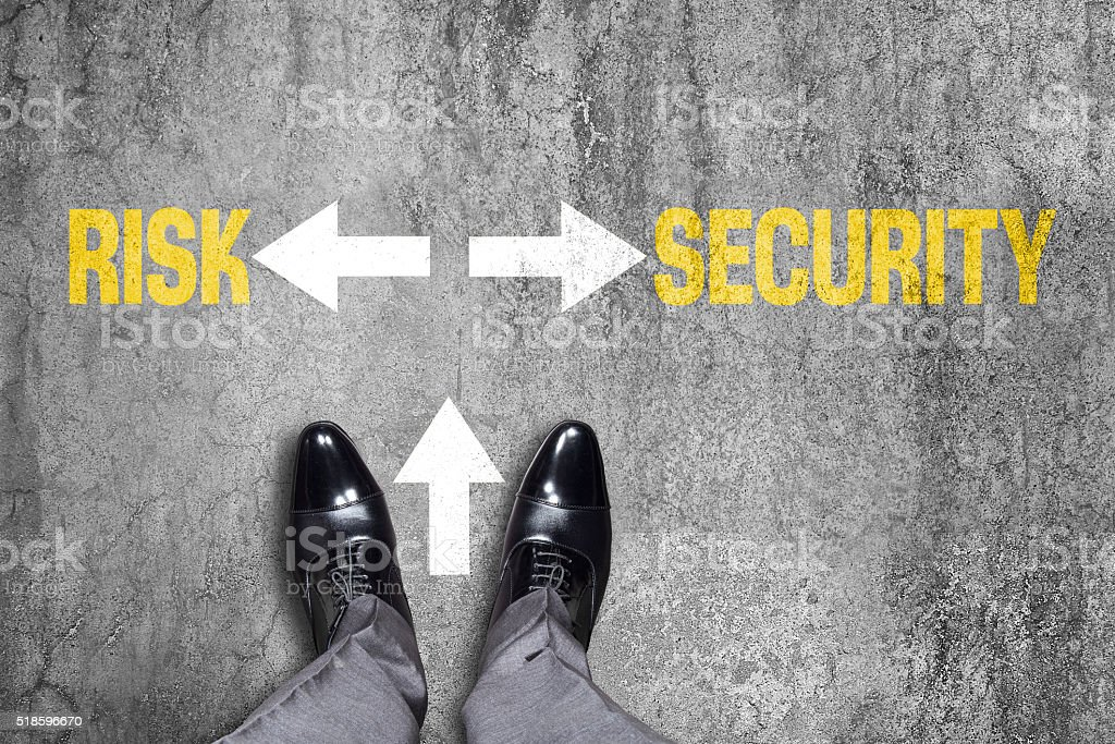 Decision to make at the dirty wall, Risk or Security stock photo