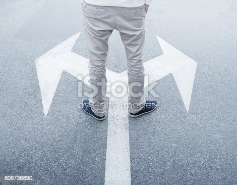 istock Decisions about the future, young man hesitating 806736890