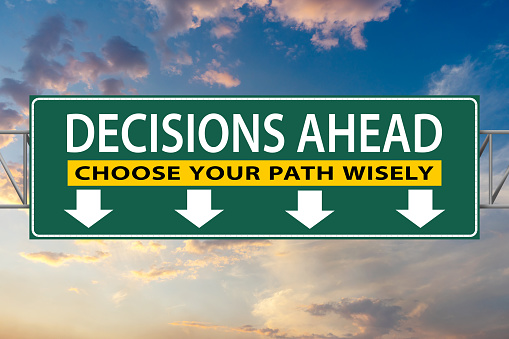 Decisions Ahead, Choose Your Path Wisely, illustration freeway green sign