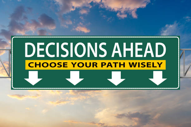 Decisions Ahead, Choose Your Path Wisely, illustration freeway green sign stock photo