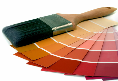 Paint color chart sample swatches, paint brush and can