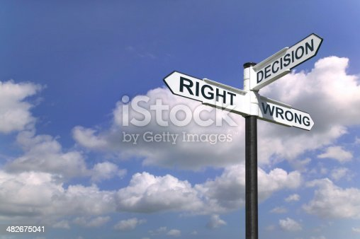 istock Decisions sign in the sky 482675041