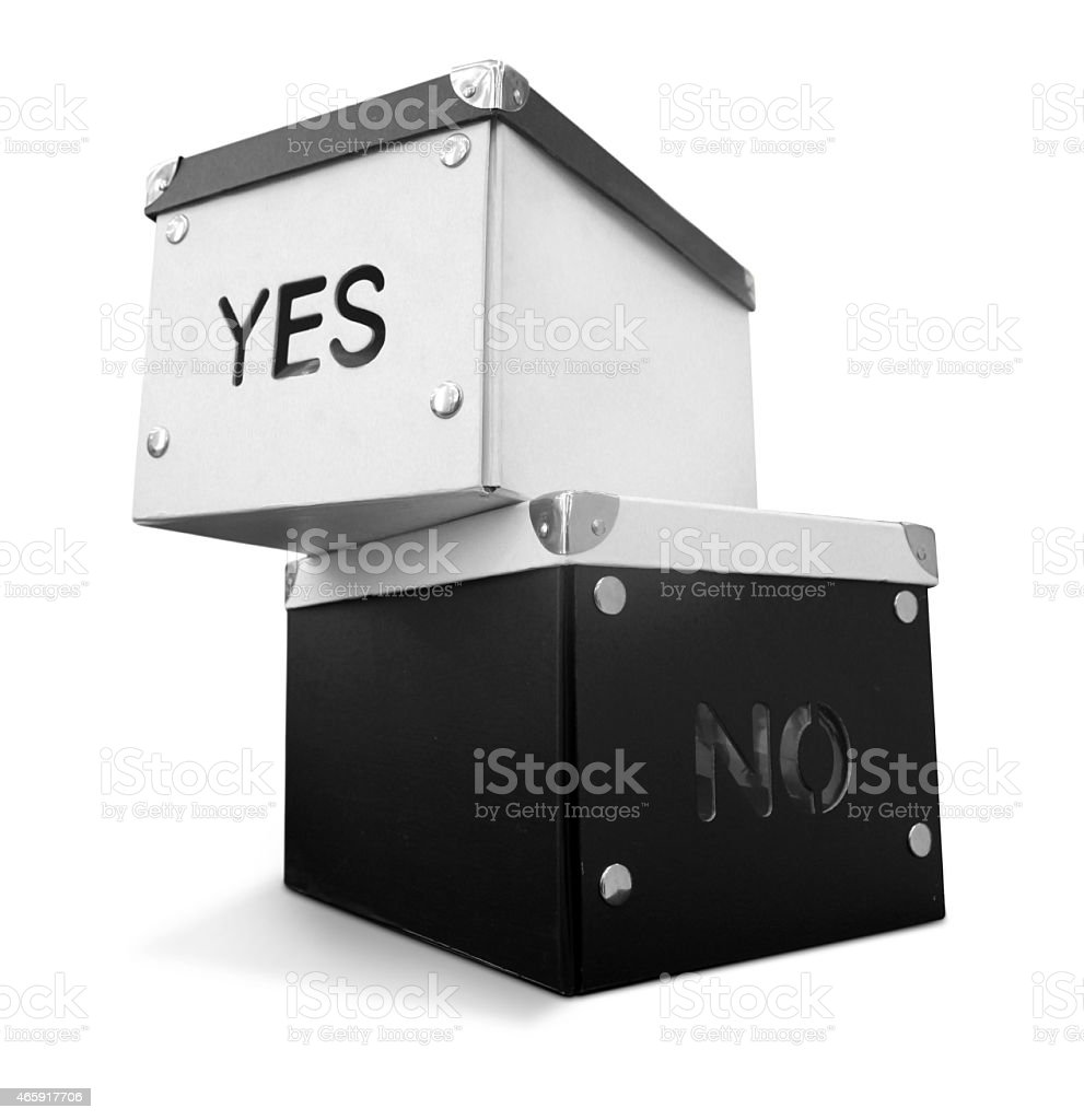 Decisions YES vs NO, stack of boxes stock photo