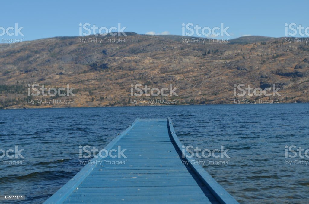 Deck and mountains stock photo