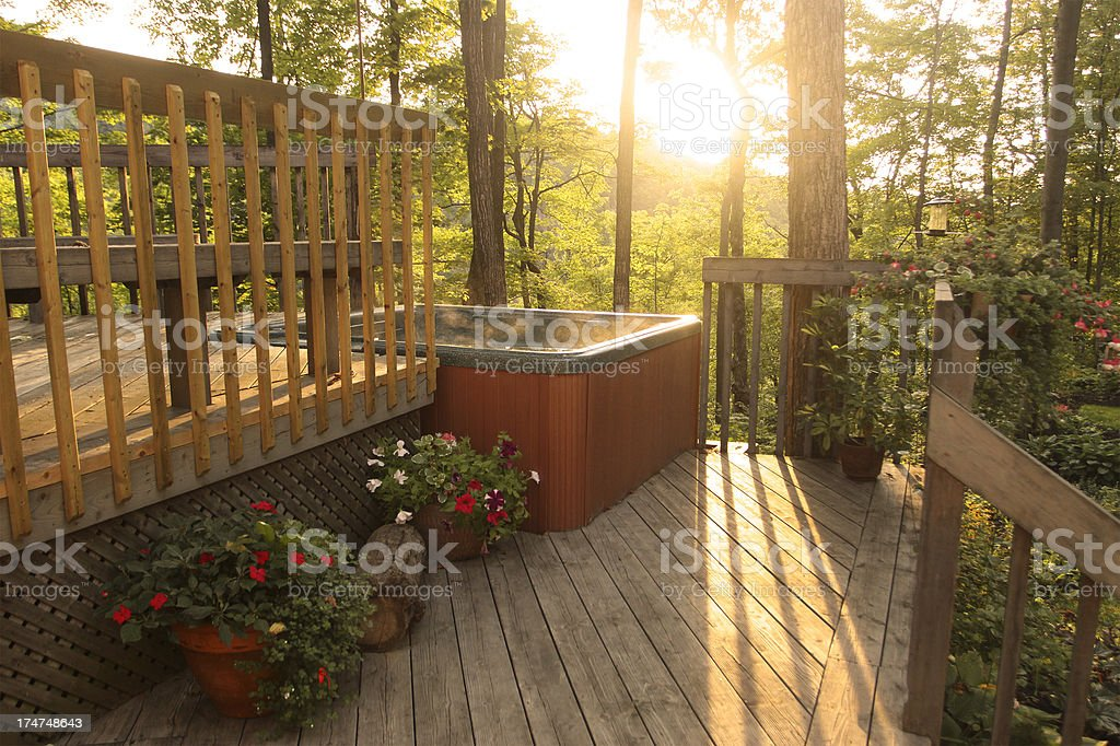 Deck and Outdoor Hot Tub stock photo