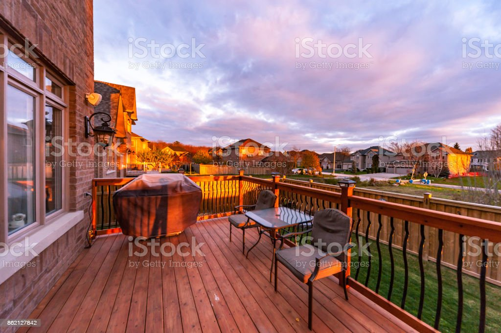 Deck at sunset stock photo