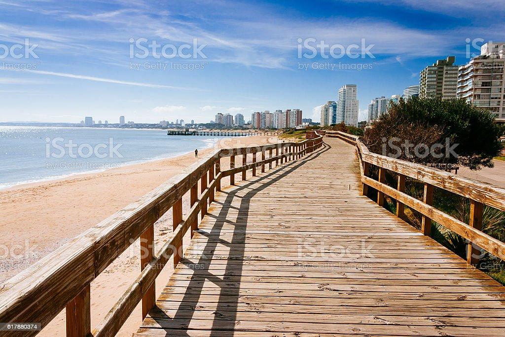 Deck at the beach in Punta del Este stock photo