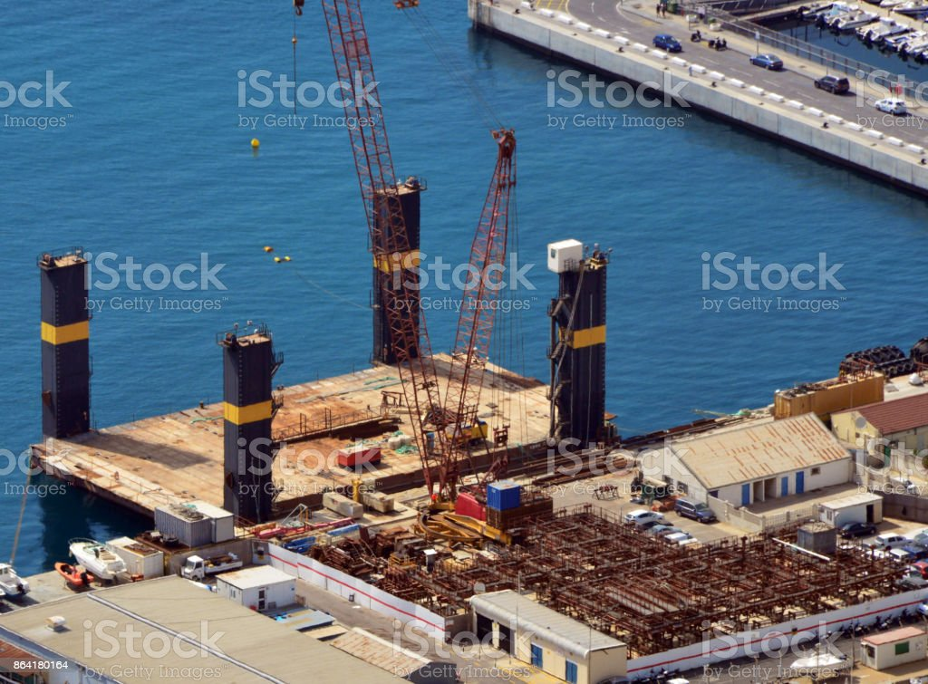 Deck cargo pontoon vessel, Gibraltar royalty-free stock photo