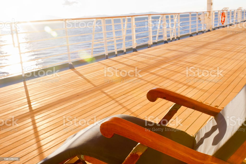 Deck Chair on a Cruise Ship royalty-free stock photo
