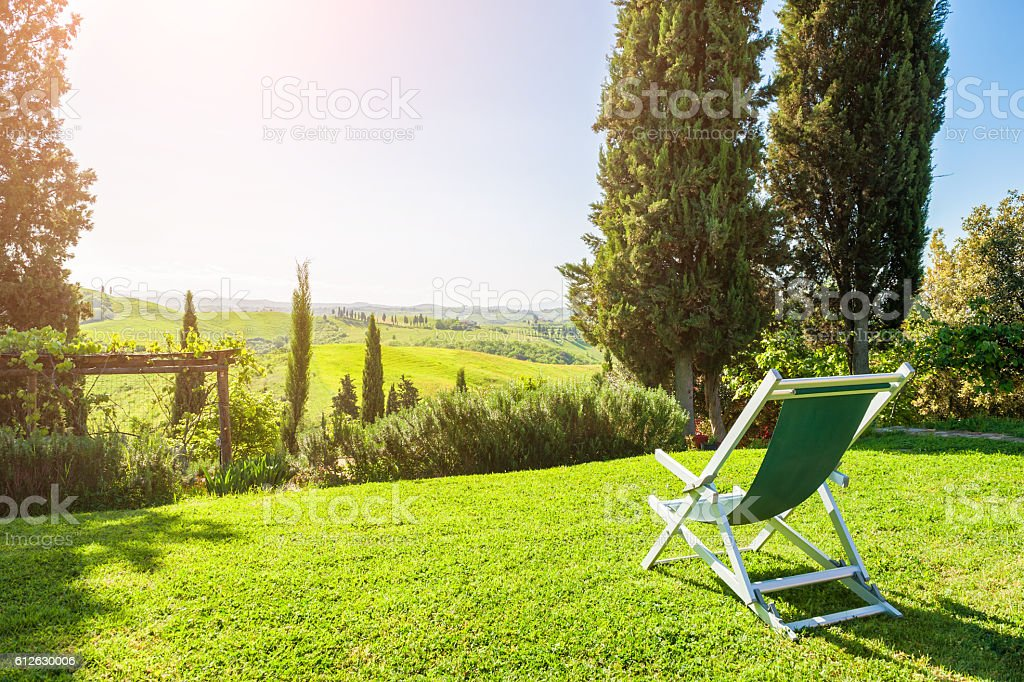 Deck chair on the green meadow stock photo