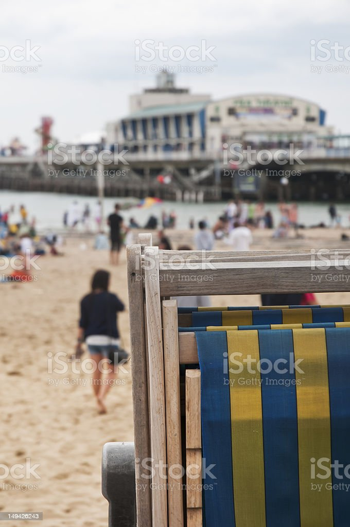 deck chairs and beach scene stock photo