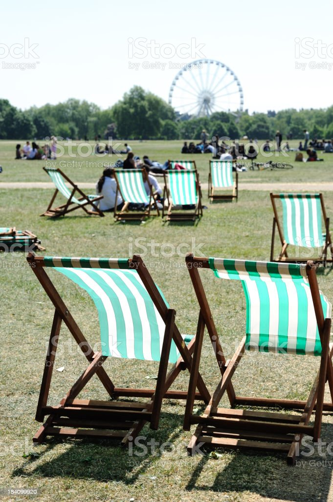 Deck chairs in Hyde Park royalty-free stock photo