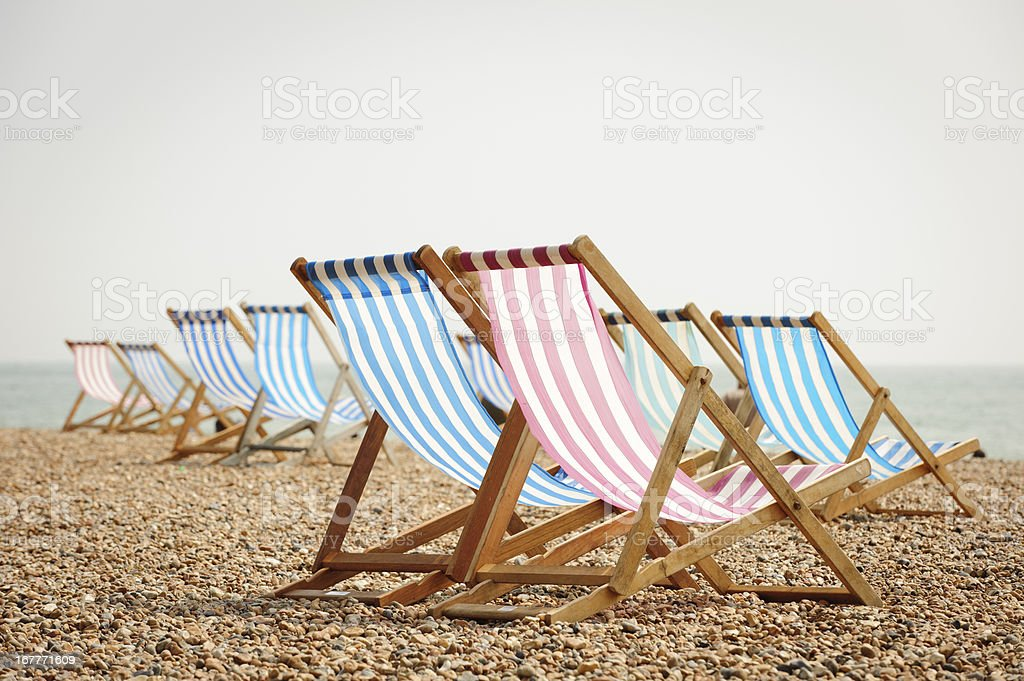 ... Deck Chairs On Brighton Beach Stock Photo ...