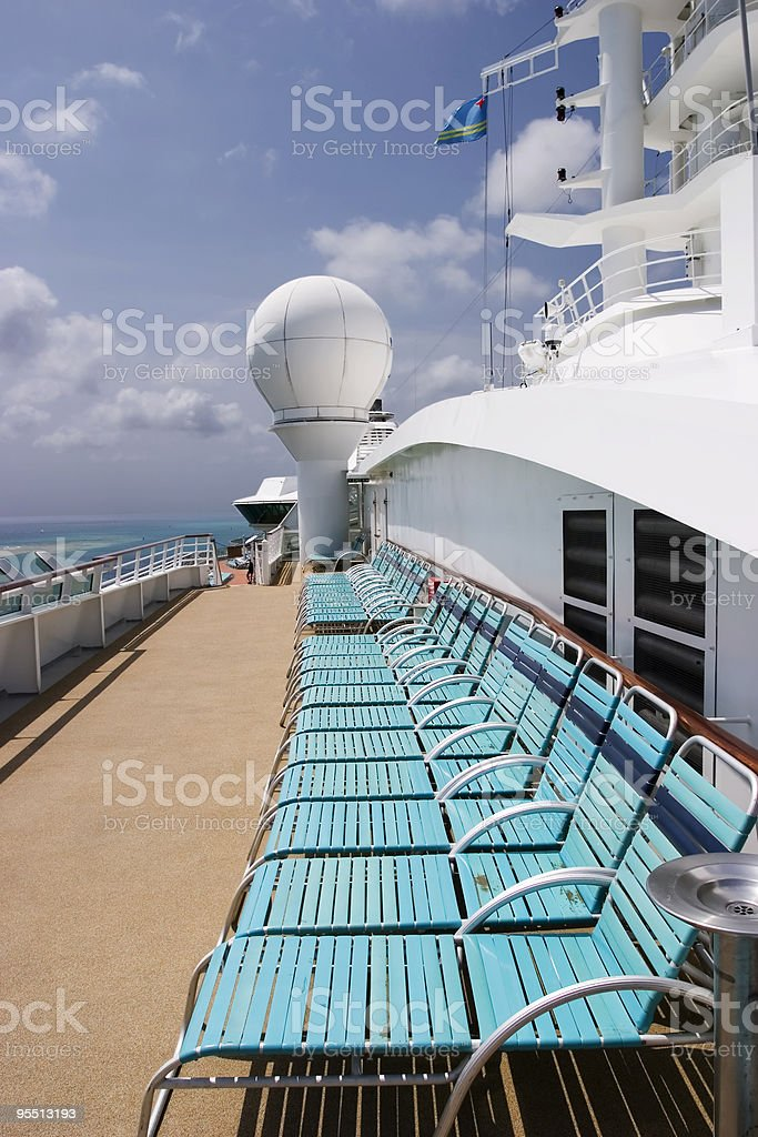 Deck Chairs On Cruise Ship stock photo