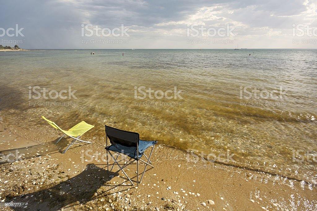 Deck chairs on the Beach - Royalty-free Beach Stock Photo