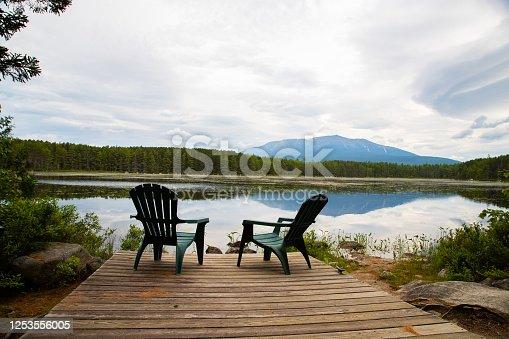 876420064 istock photo Deck Chairs Overlooking Mountain Lake 1253556005