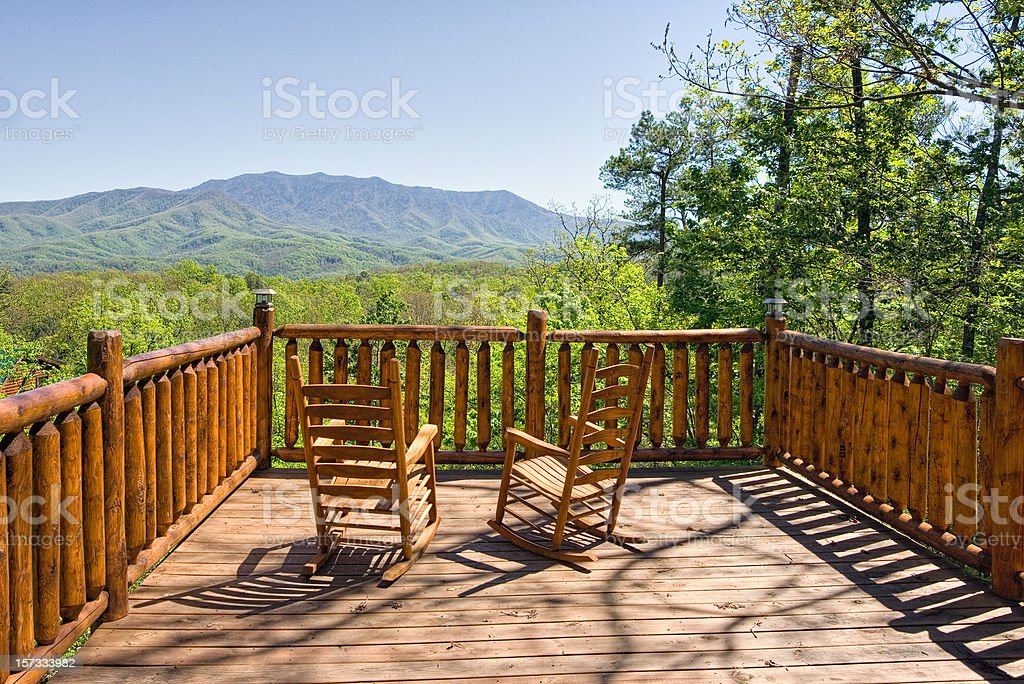 Deck chairs with a view of the Smoky Mountains royalty-free stock photo