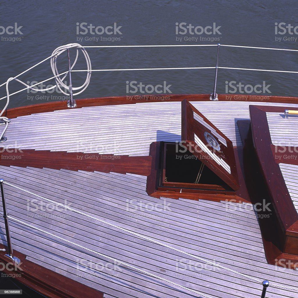 Deck detail on sailing boat royalty-free stock photo