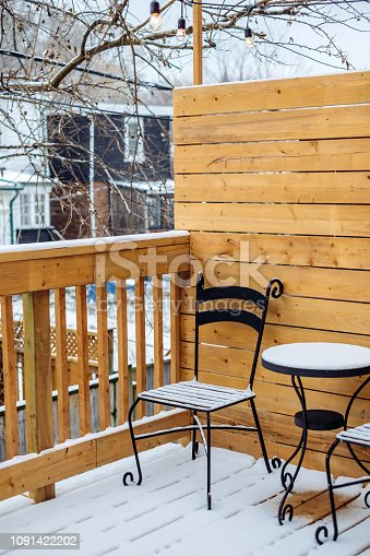 Evening winter light on the rear backyard deck in the private home in North America.