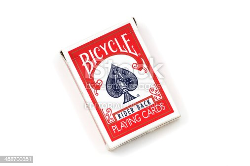 West Palm Beach, USA - April 7, 2011:  A product shot of a box containing a deck of Bicycle brand playing cards, manufactured by the US Playing Card Company.