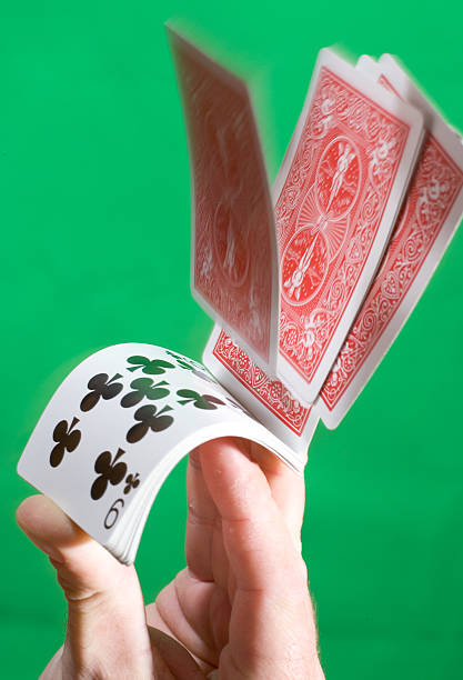 Deck of cards flipped stock photo