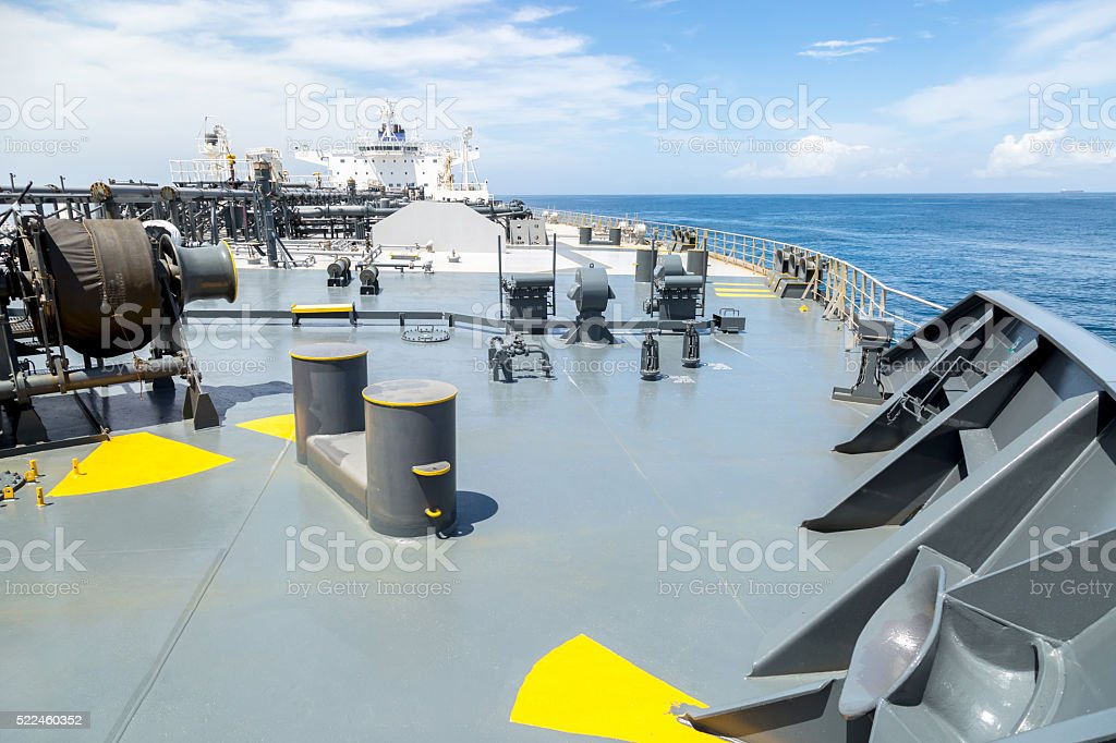 Deck of oil tanker - view from the bow. stock photo