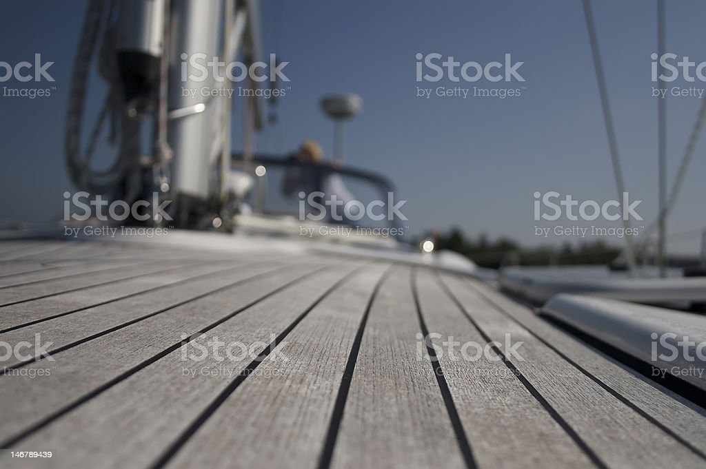 deck of sailing boat royalty-free stock photo