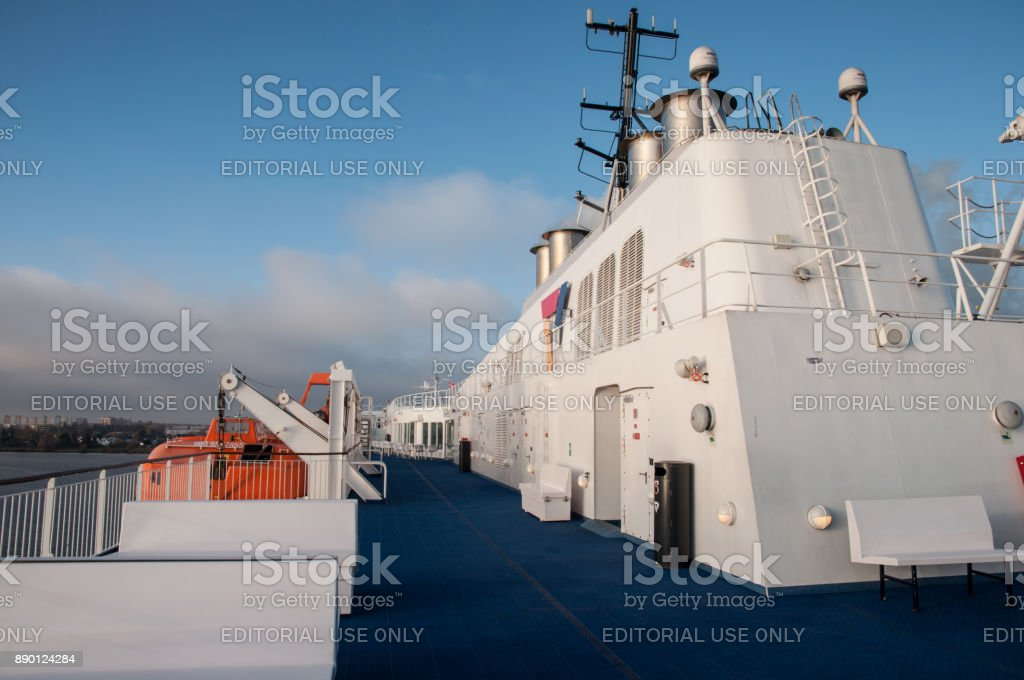 Deck of Scandlines Ferry Berlin stock photo