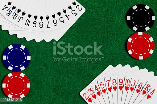 A Deck of standard playing cards with Hearts and spades fanned out in the corners of the frame with Red, Blue and Black betting chips in the opposite corners on a green felt playing surface.  Shot for Copy space in the center on the felt.