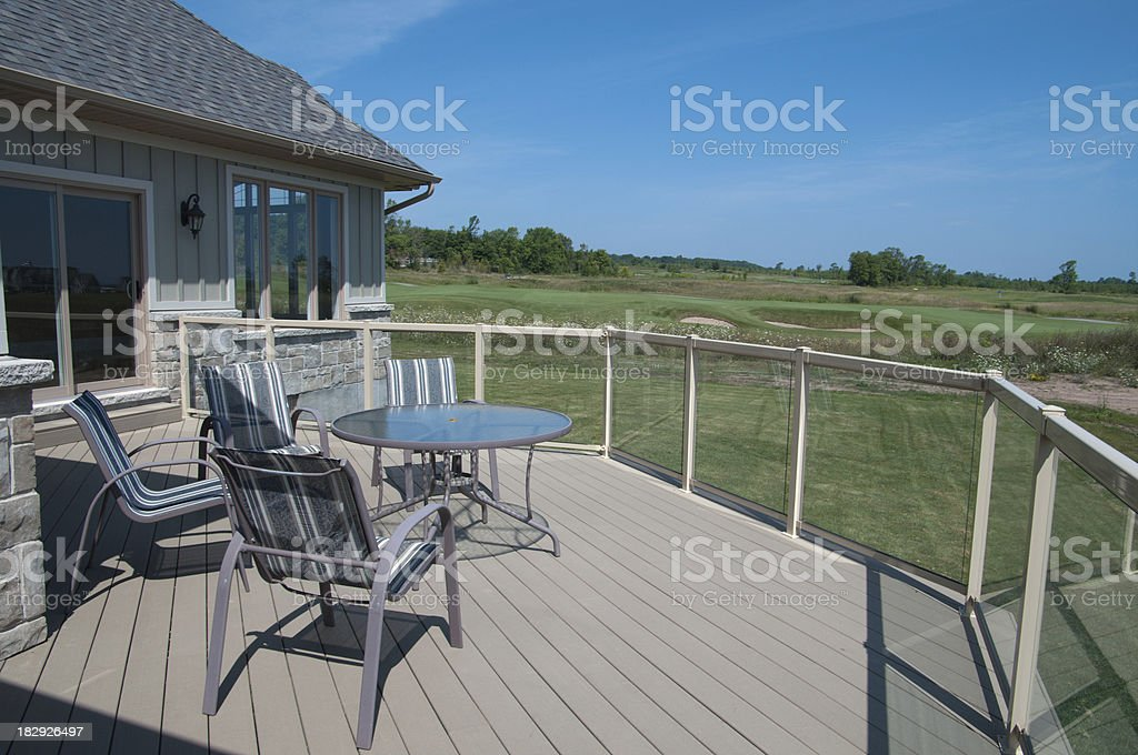 Deck Overlooking Golf Course royalty-free stock photo