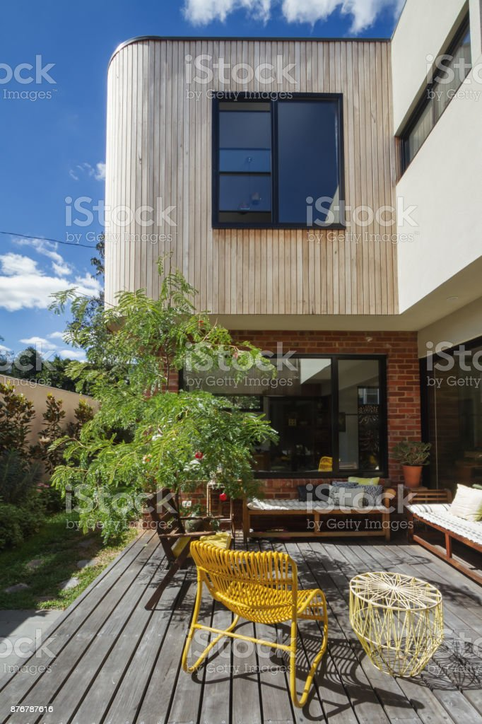 Deck Patio Courtyard In Modern Home Extension Renovation In Melbourne  Royalty Free Stock Photo