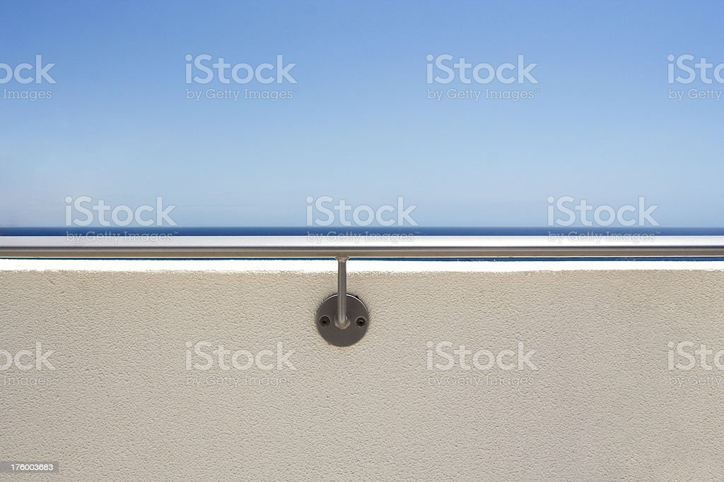 deck railing against sky and sea royalty-free stock photo