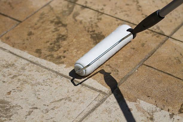 deck sealant - zement terrasse stock-fotos und bilder