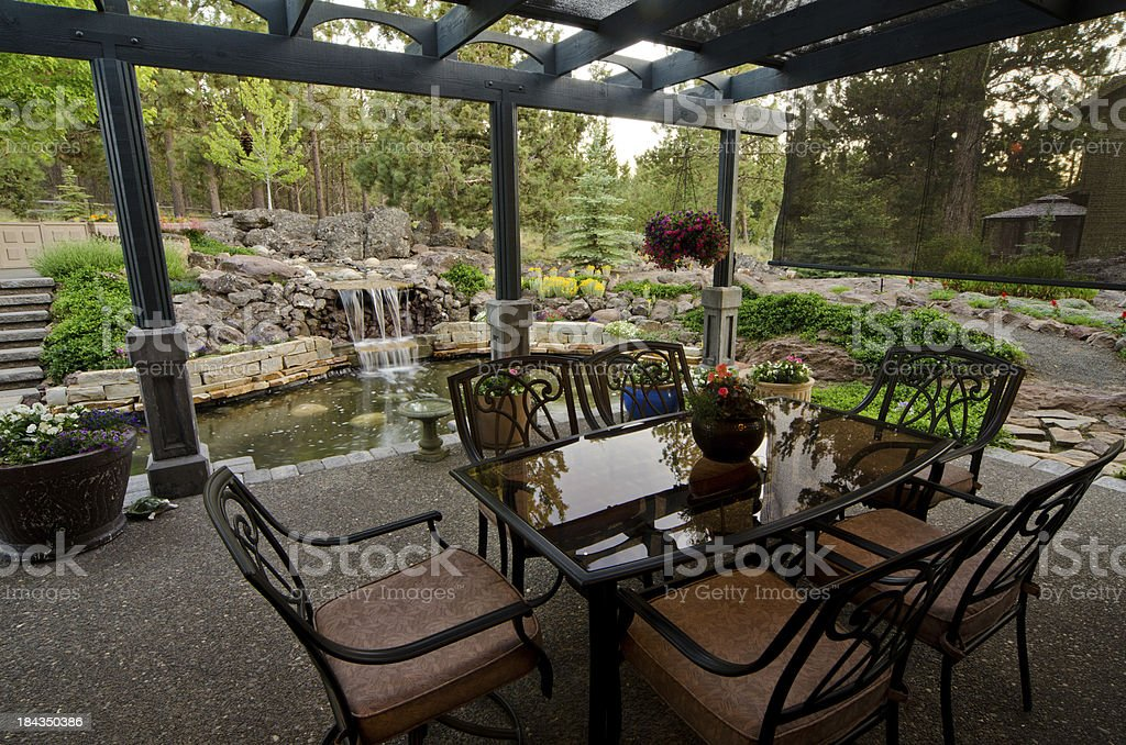 Deck with a water feature stock photo