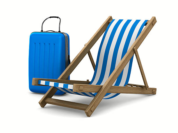 deckchair and luggage on white background. isolated 3d image - dawdle stock pictures, royalty-free photos & images