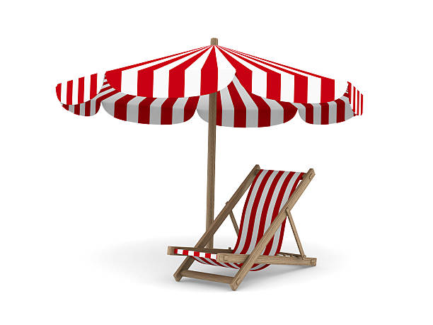 deckchair and parasol on white background. isolated 3d image - dawdle stock pictures, royalty-free photos & images