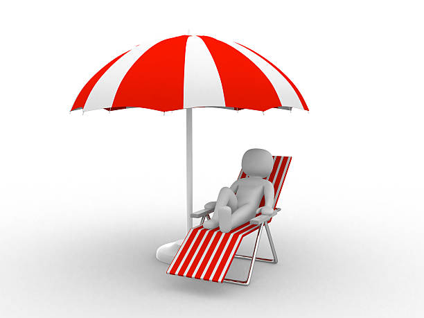 deckchair and parasol on white background - dawdle stock pictures, royalty-free photos & images