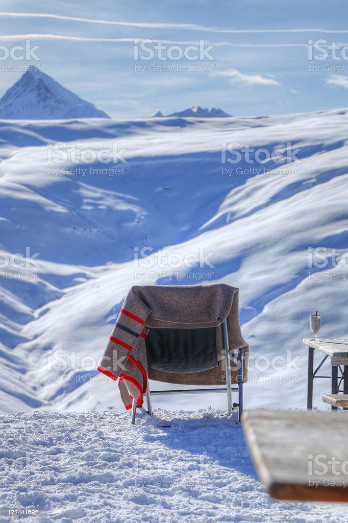 Deckchair Coffee and Mountain stock photo