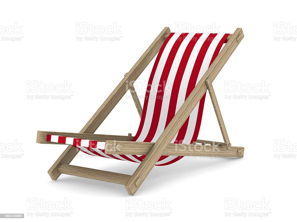 Deckchair on white background. Isolated 3D image royalty-free stock photo
