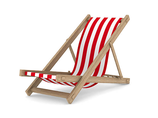 deckchair on white background. isolated 3d image - dawdle stock pictures, royalty-free photos & images