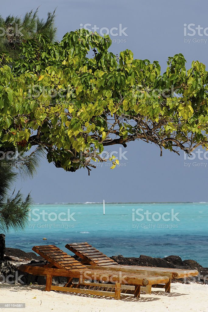Deckchairs in Paradise royalty-free stock photo