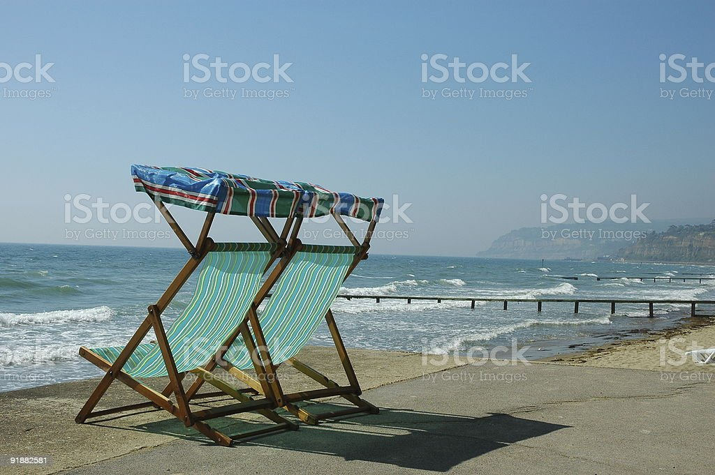 Deckchairs on the seafront. royalty-free stock photo