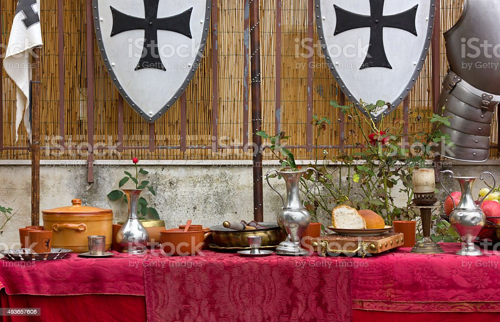 Decked Table at a Historical Reenactment stock photo