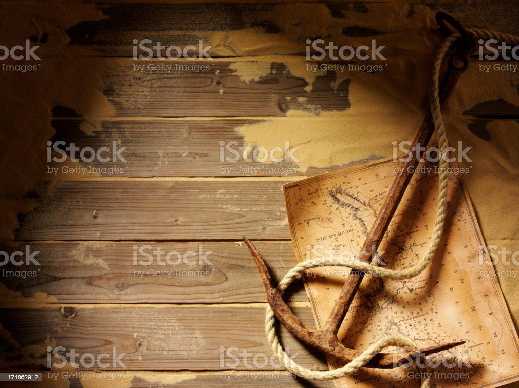 Terrasse avec une ancre et rouille carte - Photo