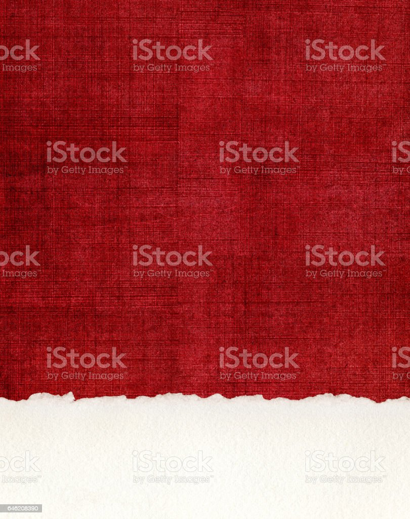 Deckled Paper Edge on Red Cloth stock photo